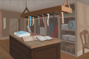 Ribbons, fabric, and sketches--perhaps some of Mr Mortimer's latest commissions?