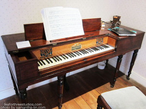 "A pianoforte from Jane Austen's House Museum in Chawton. The plate reads: ""Square piano 1810. Piano made by Clementi in London. This may be similar to the piano that Jane bought after arriving here."""